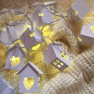 Eco Friendly Loving Heart Maison en bois Lumières 10pcs Guirlande LED Lumière Guirlande lumineuse maison fête de mariage Décoration Chambre