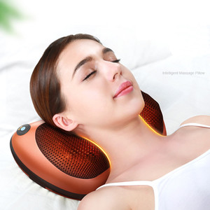 Cojín masajeador cuello almohadilla del coche de Ministerio del Interior cervical Shiatsu Masaje cuello posterior de la cintura cuerpo Herramienta eléctrica Masage regalo