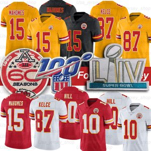 Kansas City Patrick Mahomes II Capo Jersey 87 Travis Kelce 10 Tyreek Hill 60 ° 100 ° Patch Calcio Maglie