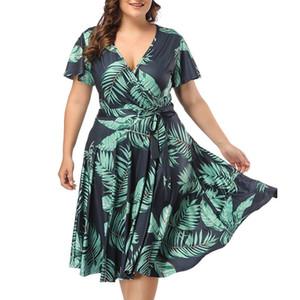 Ishowtienda Large Size Dresses Women Plus Size Dresses Bohemian Casual Bohemian Large Size V -cut Y19071101