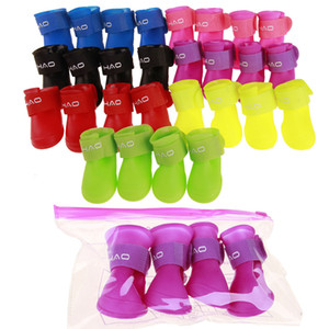 pet dog boots with four silicone antiskid shoes wear waterproof dogs shoes candy colored pet rainy days appear essential cny1603
