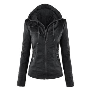 Más el tamaño de la chaqueta de Moto Streetwear cremallera de las mujeres capa encapuchada con capucha de las señoras de vestir exteriores del faux de cuero de la PU de la chaqueta femenina Abrigo de invierno