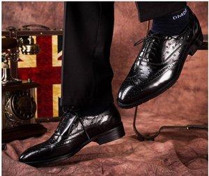 Männer Bullock geschnitzt formale Schuhe 2 Farbe spitzen Zehe schnüren sich oben falt Oxfords Echtes Leder Parteihochzeitsschuhe