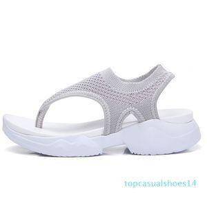 2020 Women Sandals Ladies Mesh Flip Flops Female Elastic Band Wedges Woman Breathable Beach Shoes Women's Footwear Plus Size 43 t14