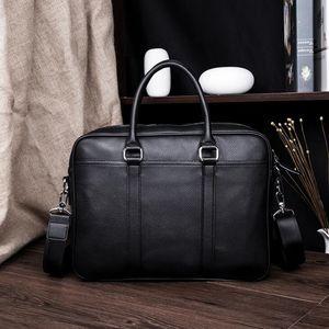 Toptan marka erkekler Messenger çanta büyük kapasiteli bilgisayar taşıma çantası basit Joker deri iş çantası Litchi tahıl deri çanta