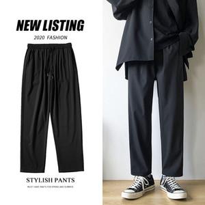 Summer Thin Black Casual Pants Men's Fashion Business Casual Dress Pants Men Streetwear Loose Drawstring Straight Trousers M-5XL