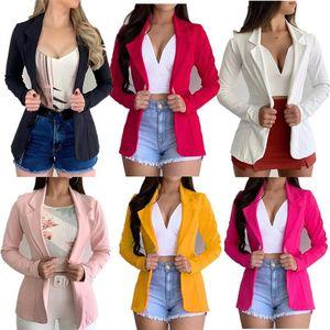 Frauen nehmen Blazer Solid Color-Revers-Ausschnitt Langarm-Button-Anzüge Famale beiläufige Blazer