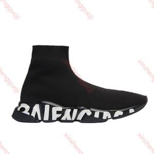 Balenciaga кроссовки Speed Clearsole черный жаккардовый трикотаж белый черный граффити подошва плоский носок сапоги Повседневная обувь Speed Trainer Runner