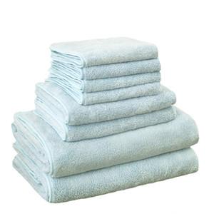 Bonenjoy 8pcs Asciugamano da bagno in microfibra imposta morbidezza Quick Dry capelli Toallas blu viso asciugamano set Y19062803