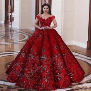 2020 Sexy Red Alças lantejoulas vestido de baile Prom Vestidos Dubai Africano Flores Applique Plus Size Vestido Quinceanera Pageant Vestidos
