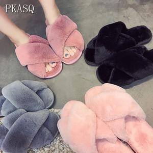 Flats Kadın Slaytlar Siyah Pembe # AN02 üzerinde Sahte Kürk Moda Sıcak Ayakkabı Kadın Fişi ile PKSAQ Kış Kadınlar Ev Terlik