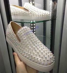 2020 nouvelles chaussures clouées haut de gamme design de luxe Red chaussures occasionnels femmes chaussures hommes bas en haut, en bas baskets cuir souple, véritable: 35-47