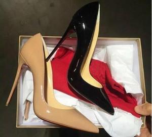 Livraison gratuite, des talons de haute qualité dame à la mode et de luxe à semelles rouges élevées, en cuir verni partie chaussures de mariage boîte originale 34-4