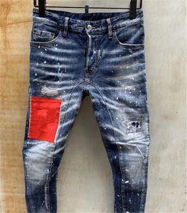Marque italienne Hommes Designer Jeans Peinture Spots Red Patch Brochage Bleu marine Washed Jeans Slim Casual Mode Crayon Pantalons Zipper Jeans