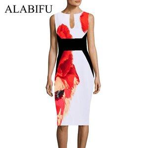 Alabifu sommer frauen dress 2019 vintage elegante druck blumen abend party dress sexy ärmel bodycon bleistift dress vestido y19071001