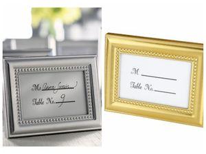 (20pc / lot) Décoration artisanale de mariage de photo argent et or comme monture, aussi carte Place Holder Pour Party Favors et cadeaux invités
