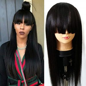 Long Black Silky Straight Full Bangs Wigs 180% Density Japanese Fiber Hair Synthetic None Lace Wigs Baby Hair 24inches for Fashion Girl