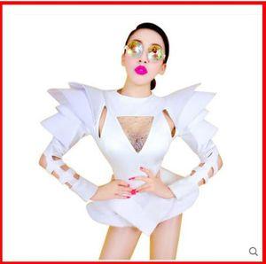 2019 Nueva mujer Mujer Traje blanco Trajes de baile de jazz Bar Discoteca sexy DS Cantante Hiphop Ropa Rhinestone Outfit Stage Wear
