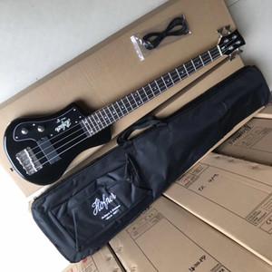 새로운 도착 사용자 정의 4 문자열 블랙 호프 너 쇼티 여행베이스 기타 Protable 미니 전기베이스 기타와 코튼 공연 가방, 블랙 픽가드