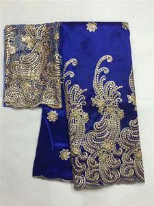 Pailleté africaine George dentelle tissu avec chemisier et sequins Inde mariage pourpre Paillettes Laces ligne African Gold George Matériel