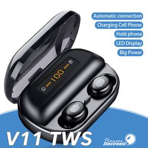 V11 TWS беспроводные наушники 4000mAh светодиодный дисплей Bluetooth V5. 0 наушники 9d стерео водонепроницаемый наушники с розничной упаковке