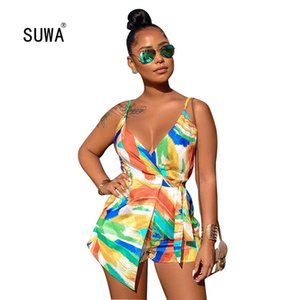 SUWA 2020 Newon Beach MultiColor Print Spaghetti Strap V Neck Sleveless Short Jumpsuit Summer Femme Casual Lace up Playsuit