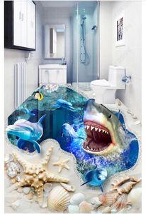 Personalizzato 3D foto murale carta da parati in pvc autoadesivo adesivo da pavimento impermeabile wall sticker Thrilling squalo sea hole pavimento 3D papel de parede