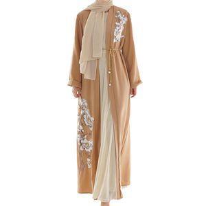 Mode muslimische Frauen Langarm Hijab Kleid arabische Nahen Osten Frauen Halskette Langarm Robe Kleid Frauen Dubai abaya 2019