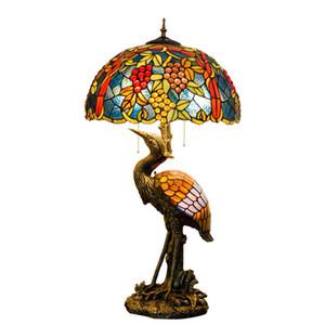 Tiffany Table Lamp Vintage Grape escursioni E27 Retro Style Mediterraneo si dirige Deco Art Light Table Fixure