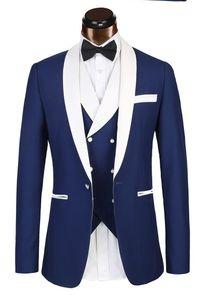 Design personalizzatoNew Blu navy formale uomo abiti da uomo a tre pezzi bavero Custom Made Business sposo smoking da sposa (Jacket + Pants + Vest)