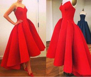 Новые Homecoming платье красного коктейльное платье Милая High Low Длина пола атласная Ruffles линия партии платья выполненные на заказ платья выпускного вечера