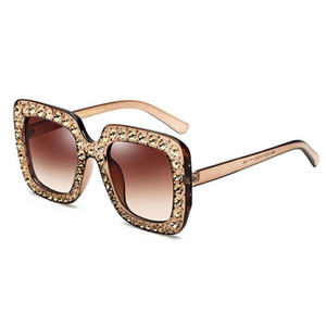 Women Long Keeper 2019 International Women's Brand Fashion Cat Eye Sunglasses Ms. Crystal Diamond Square Large Frame Retro HD Glasses UV400