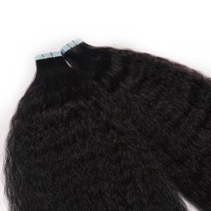 Invisible Remy Kinky Curly peau Trame bande dans les prolongements Cheveux Vierge Noir Brun Blond 100g ruban adhésif double face en 14 Sur cheveux « -24 »