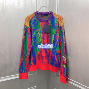 high end women oversize knit sweater all over put together color pattern with letter print blouse shirt knitwear fashion design pullover top