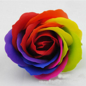 Display Rainbow 5 Colorful Rose Soaps Flower Packed Wedding Supplies Event Party Goods Favor Toilet Soap Scented Bathroom Accessories