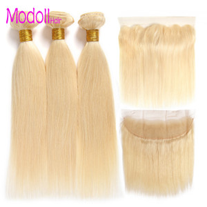 10A Modoll Hair 3 Bundles With 13 * 4 Lace Frontal Closure 100% Human Weaving 613 Blonde Malaysy Straight Remy Hair Bundles with front