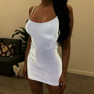 Nouvelle mode des femmes sexy robe Reflective Cool Summer Style Slim Robe du Club Party Twill Robe courte Mini moulante