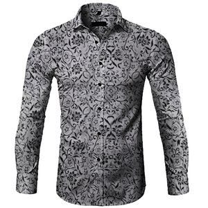 MarchWind shirt homme Blusa Masculina Casual Imprimé floral Chemises à manches longues hommes robe Bouton Hommes Chemises Streetwear Camisa Masculina