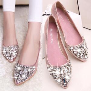 Rhinestone Winted Toe Women Flats Novo Cristal Coreano Verão Respirável Feminino Raso Slip-on Lofers Lofers Sapatos