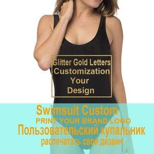 Femmes Beachwear Imprimer votre propre conception Marque / Photo Glitter or Lettre personnalisée One Piece Maillots de bain Maillot de bain Bikini