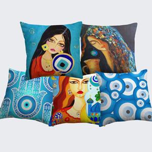 Almofada da mão de Hamsa do olho mau pintura a óleo Tampa Islam Arabian Khamsa Hand Of Fatima Mesquita Pillow Covers Linho fronha de algodão