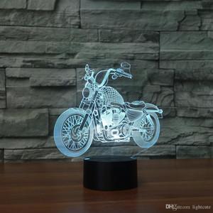 펑크 할리 오토바이 3D 환상 밤 빛 터치 7 색 변경 홈 장식 아기 소녀 소년 LED 램프 아이 선물 크리스마스 크리스마스 선물