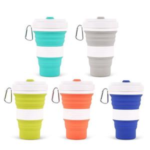 550 ml copo de café dobrável chá xícara de leite de dobramento de viagem ao ar livre caminhadas portátil silicone garrafa de esportes copo XD22249 entrega DHL