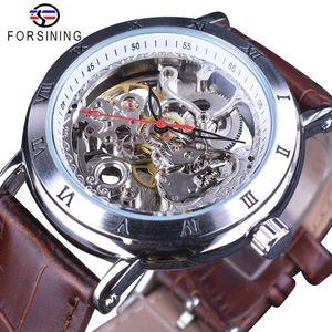 Forsining Movimiento flor impermeable de cambios de cuero transparente del reloj de los hombres mecánico automático esquelético relojes de primeras marcas de lujo
