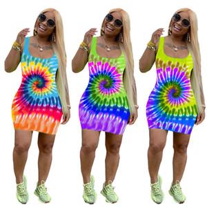 Krawatten-Farbstoff 3D Mode Bodyconkleider Frau Sommerkleider Frauen Panzer Weste Slim Skinny Minirock Party Kleider Kleidung C72404