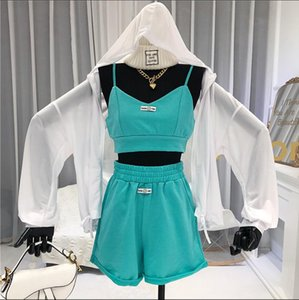 Sports Suit Female 2020 Summer New Fashion Hooded Sunscreen Cardigan Shirt + Camisole + Casual Shorts Three-Piece Set