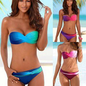 Bikini Womens Set Bandage Push-Up acolchoado Swimwear Swimsuit de banho ZX brasileira