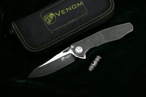 Kevin John VENOM aile intégrée noir S35VN SOLID titane à ailettes couteau pliant roulement à billes en céramique camping en plein air chasse EDC outil