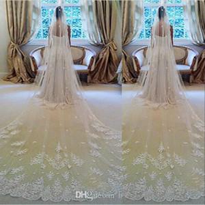 Chegada Nova Cheap Lace apliques Bridal Veils Luxo Longo Custom Made branco marfim de alta qualidade casamento Véus 3 M e acessórios do casamento 5M