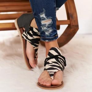 Женщины Летние Сандалии Квартиры Обувь Женщина ПУ Кожа Zapatos de Mujer Повседневная Богемия Сандалия Сапато Феминино Зебра Леопарда Змея